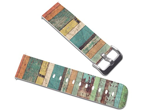 23MM Watch Band Quick Release - Cisland Compatible Leather Replacement Strap for Fitbit Blaze Leather Replacement with Quick Release Pins Vintage Fashion Art Pattern Design
