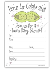 m&h invites Peas in a Pod Twins Baby Shower Invitations with Envelopes (20 Count)