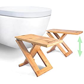 NEW - Relaxx Squatty Toilet Stool - Adjustable to 7, 8 and 9 inch - Bamboo - Portable & Foldable Potty Step Stools - Folding and Storable Bathroom Footstool (One Pair)