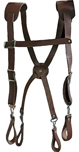 Leather Gold Tool Belt Suspenders 9701 Large | Fits People 5'10