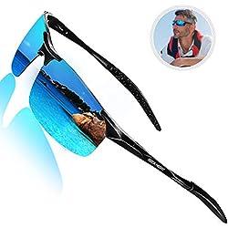 ROCKNIGHT Polarized Sports Sunglasses for Men Blue Sunglasses Al Mg Ultra Lightweight Rimless Sunglasses Reflective Metal Frame Sunglasses Gifts for Men