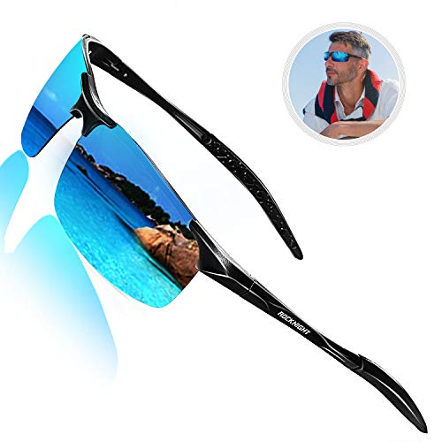 ROCKNIGHT Polarized Sports Sunglasses for Men Blue Sunglasses Al Mg Ultra Lightweight Rimless Sunglasses Reflective Metal Frame Sunglasses Gifts for Men