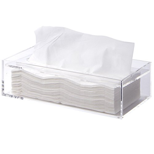 MUJI Clear Acrylic Bathroom Facial Tissue Dispenser Box Storage Case Cover Container / Decorative Napkin Holder