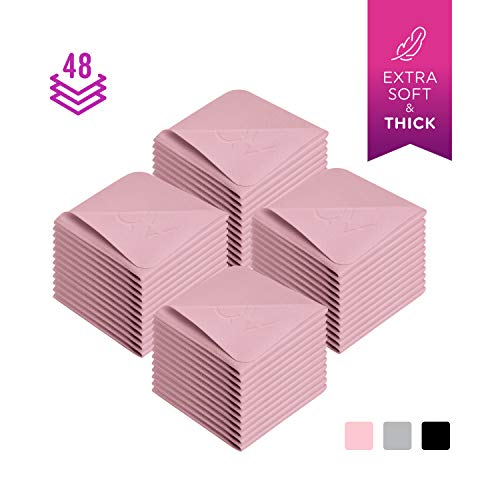 Premium Microfiber Cleaning Cloth 6x6 Inch - Soft Suede Like Lint Free Cloths Clean Glass, Eyeglasses - Compatible with iPad, iPhone, Phone, Tablet, Camera Lens, TV LCD Touch Screen (48 Small, Pink)