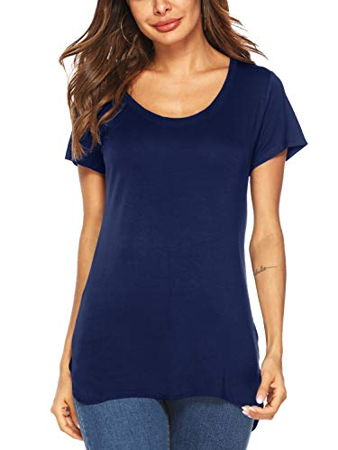 Beluring Womens Summer Tops Short Sleeve Casual Plain Tee Shirts with Split(Navy,M)