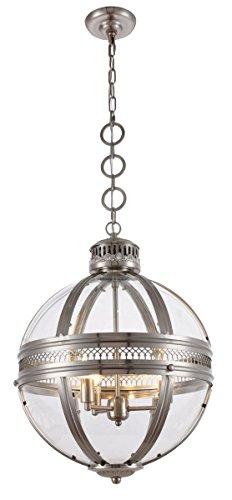 Elegant Lighting 1700D18SN Casanova - Three Light Adjustable Pendant, Satin Nickel Finish
