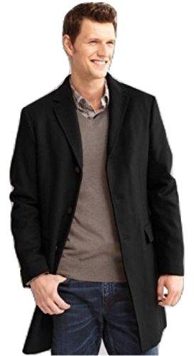 Banana Republic Topcoat Jacket Coat Black Wool Men Tailored FIT Fully Lined