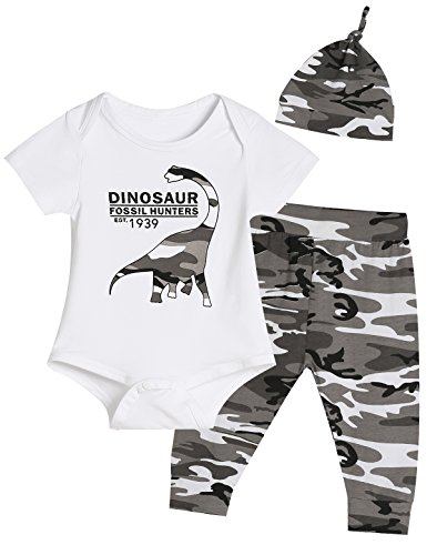 Auggle Baby Boys' Dinosaur Outfit Set 3PCS Funny Romper Camouflage Pants with Hat