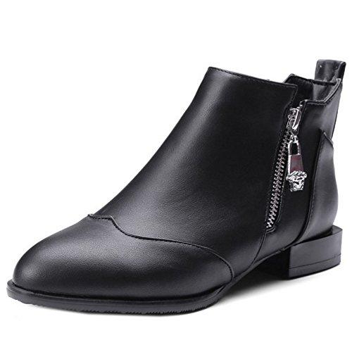 COOLCEPT Damen Mode Low Flach Ankle Stiefel With Zipper 33 Black