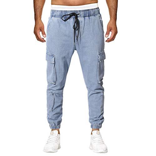 - POHOK Summer Pants for Men Summer New European and American Mens Multi-Pocket Casual Plaid Long Short(3XL,Blue)