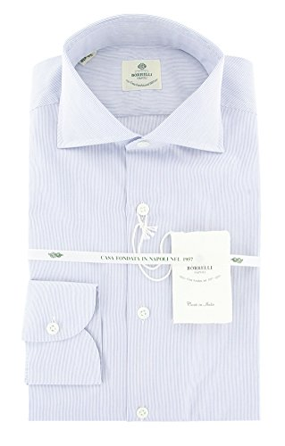 Luigi Borrelli New Blue Striped Extra Slim Shirt