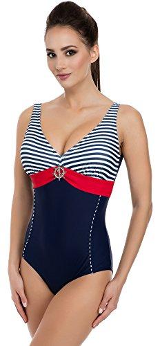 Merry Style Costume da Bagno Donna 1Q51 Blu Scuro/Rosso