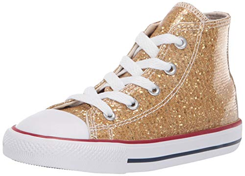 Converse Girls Infants' Chuck Taylor All Star Sparkle High Top Sneaker, Gold/Enamel Red/White, 7 M US Toddler -