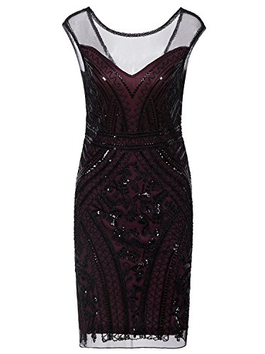 Vijiv 1920s Prom Wedding Dresses Inspired Sequins Vintage Gatsby Flapper Dress