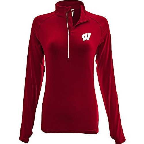 Levelwear Ley9r Ncaa Wisconsin Badgers Adult Women Energy Insignia Half Zip Mid Layer  Medium  Flame Red