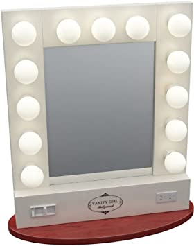 Broadway table top lighted vanity mirror white amazon broadway table top lighted vanity mirror white mozeypictures Gallery