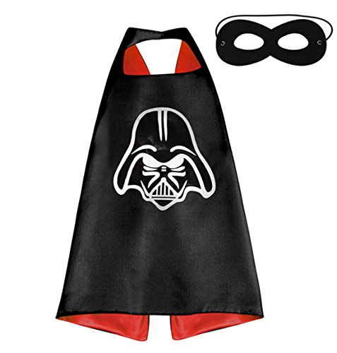 (Darth Vader) ROXX Superhero Superman Kids Girl Boy Cape and Mask Costume for Child (Darth Vader Costume For Sale)