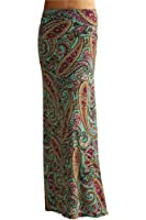 TrendzArt Paisley/Floral Print Maxi Skirt  - Made in USA