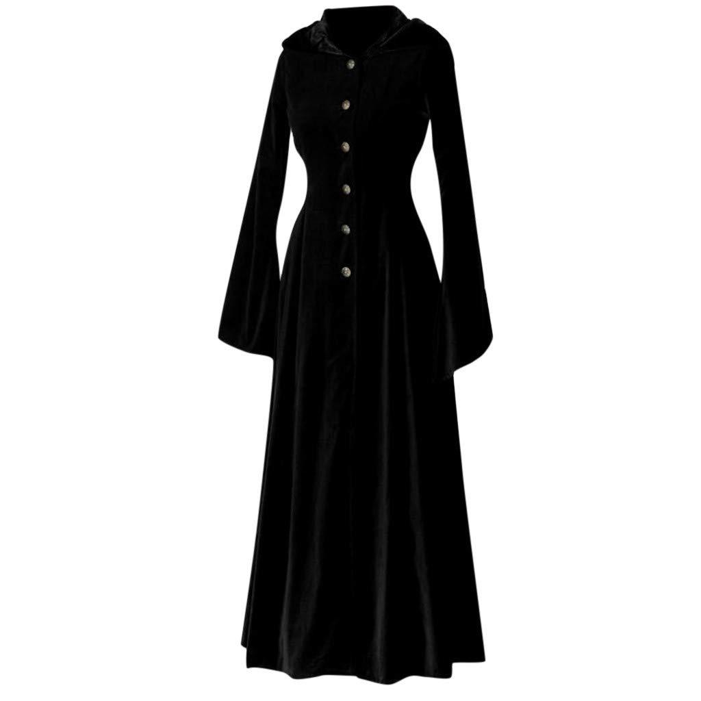 Alangbudu Women Cosplay Halloween Medieval Cape Windbreaker A Line Hoodie Long Flare Sleeve Overcoat Party Maxi Jacket Black by Alangbudu-Women's Long sleeve blouses & sweatshirts & hoodies
