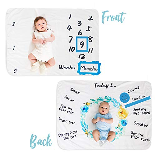 Baby Milestone Blanket Monthly Double Sided with Felt Markers - Soft Fleece - Newborn Unisex Baby Boy or Girl - Large 35 X 47 Size - Photography Props