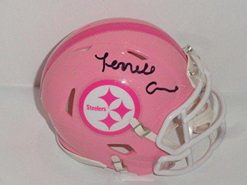 Autographed Terrell Edmunds Mini Helmet - Pink Proof - Autographed NFL Mini Helmets Autographed Pink Mini Helmet