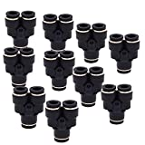 Quick Connect Fittings 1/4 inch OD DERNORD10 Pack Plastic Push to Connect Fittings Tube Connect Y Splitter Push Fit Fittings Tube Fittings Push Lock