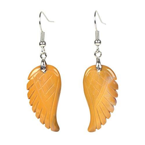 - Natural Yellow Mookaite Jasper Gemstone Crystal Healing Reiki Chakra Handmade Angel Wing Dangle Earrings