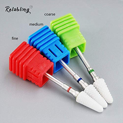 - Rolabling Ceramic Nail Drill Bit White Flame Nail Drill Bit for Electric Drill Manicure Machine Nail Salon Tool (Fine Red)