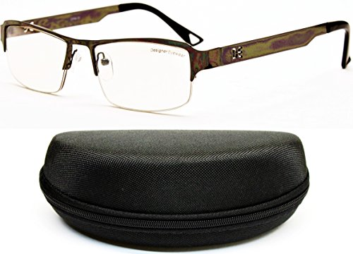 D886-cc Designer Eyewear Clear Lens Eyeglasses Sunglasses (O1178B Gunmetal/Black-Clear, - Semi Glasses Square Rimless