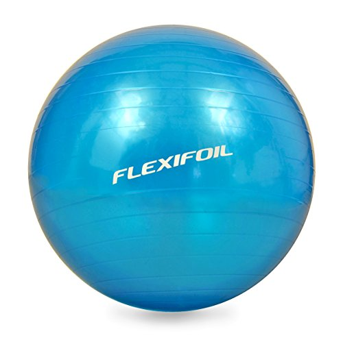 Flexifoil Anti Burst Exercise Ball - Super Dense Wall Structure for Ultimate Support & Durability. Top rated for Yoga & Pilates. Ideal for Core stability & Body Conditioning and Workouts at Home