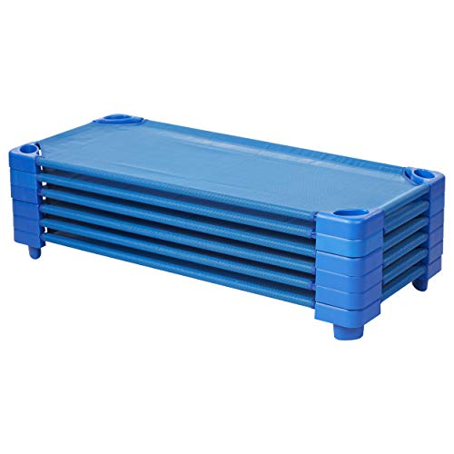 Ecr4kids Childrens Naptime Cot  Stackable Daycare Sleeping Cot For Kids  52  L X 23  W  Ready To Assemble  Blue  Set Of 6