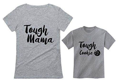 Tough Mama Tough Cookie Mother & Son/Daughter Matching Set Mom & Child Shirts Mom Gray Small/Child Gray 2T