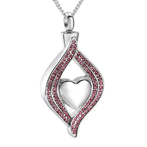 Crystal Heart Keepsake - Crystal Inlay Heart Eye Cremation Urn Necklace Ashes Keepsake Pendant Memorial Jewelry+Fill Kit (purple)