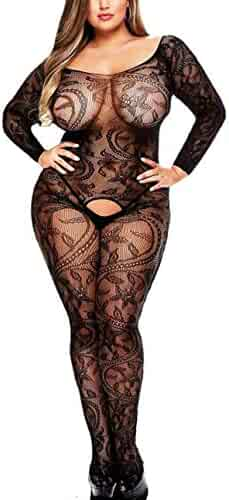 46af299753 Curbigals Sexy Women Lingerie Plus Size Crotchless Bodystocking Long  Sleeves Bodysuit