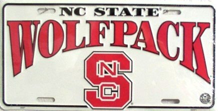 North Carolina State University Wolfpack Collegiate Embossed Aluminum Automotive Novelty License Plate Tag -
