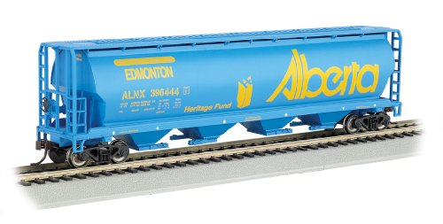 Bachmann Industries Canadian 4-Bay Cylindrical Grain Hopper Alberta Train Car, N Scale Model Railroad Rolling Stock