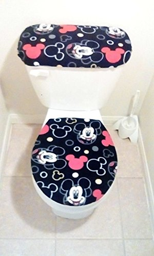 9c36d5581a7b Disney Mickey Mouse Heads Fleece Toilet Seat Cover Set Bathroom Accessories