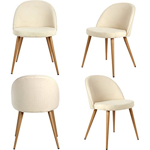 Mid-Century Modern Living Room Chair Upholstered Club Chairs Armless side with Solid Steel Leg for Dining Bedroom Reception Room Set of 4 (White) - Small Upholstered Chair