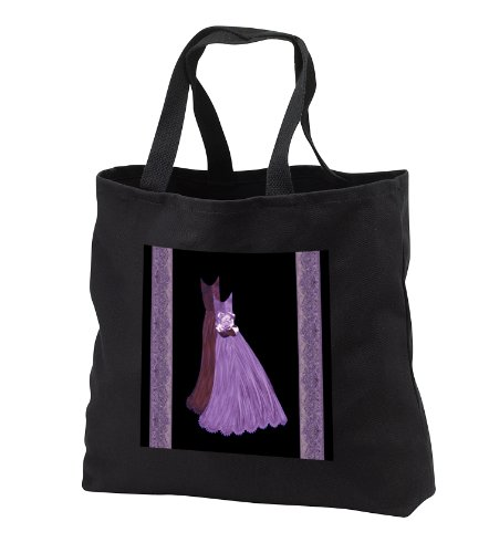 tb_30119_3 Jaclinart Art Dress Damask Ribbons Rose Ribbons - Lavender purple and plum gowns with coordinating damask ribbons - Tote Bags - Black Tote Bag JUMBO 20w x 15h x 5d
