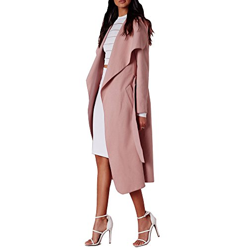 Longline Duster Dusty Collar Coat Simply Plus New Womens Belted Pink Chic Outlet Jacket Size Waterfall qwIwSa8