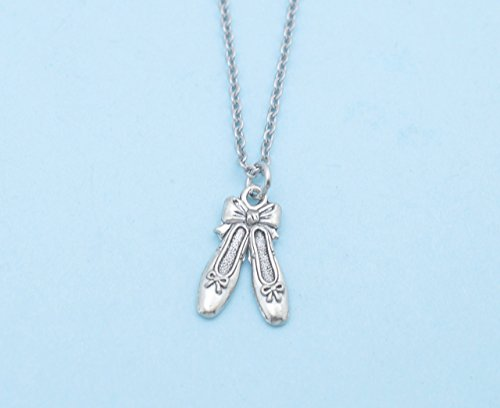Little girls ballet slippers necklace in silver pewter on a 16