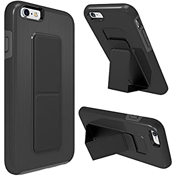 iPhone 6S Case, iPhone 6 Case, Zvedeng Kickstand Foldable Stand Dual Layer High Impact Defender Case Heavy Duty Non-slip Shockproof Case Cover for Apple iPhone 6 and iPhone 6s Black and Grey