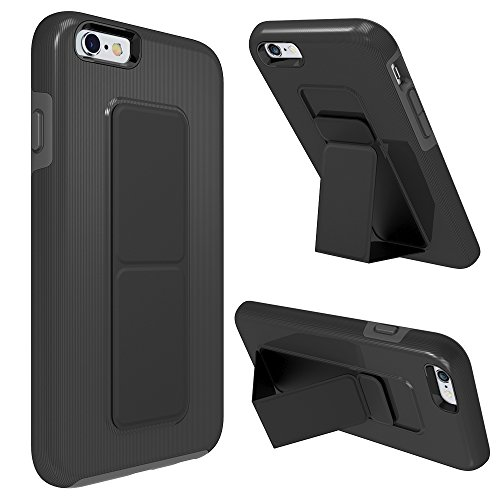 iPhone 6S Case, iPhone 6 Case, Zvedeng Kickstand Foldable Stand Dual Layer High Impact Defender Case Heavy Duty Non-slip Shockproof Case Cover for Apple iPhone 6 and iPhone 6s Black and Grey - Kickstand Stand