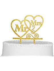 Bride and Groom Cake Topper, Mr and Mrs Sign, Wedding Decorations-Gold