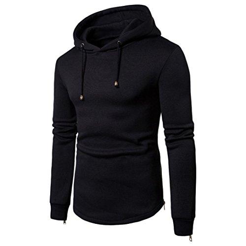 Luoluoluo Long Hooded Jacket Sleeved Blouse Black Black Coat Long Zipper Down Sleeve Jacket Men's Hoodie RRvxnZ
