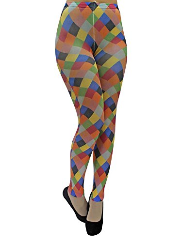 Foot Traffic - Footless Legging Tights, Multi-Color Harlequin -