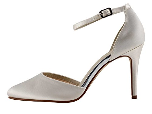 Rainbow Club Carly - Ivory Satin High Heel Bridal Court Shoe with Ankle Strap nc5JD