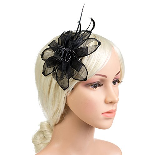 DancMolly Fascinator Clip for Women Feather Mesh Derby Hats Tea Party Pillbox Hat Brooch Flower Net Hairclip 1920s (Style 4-Black)