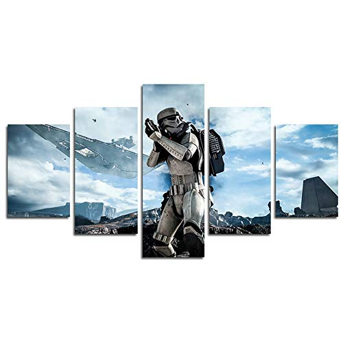 HCOZY Print Painting Canvas, 5 Pieces Star Wars Canvas Wall Art Painting for Home Living Room Office Mordern Decoration Gift(Unframed) (5 Piece Canvas Wall Art Star Wars)