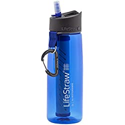 LifeStraw Go Water Filter Bottle with 2-Stage Integrated Filter Straw for Hiking, Backpacking, and Travel, Blue